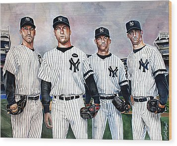 Core 4 Yankees  Wood Print by Michael  Pattison