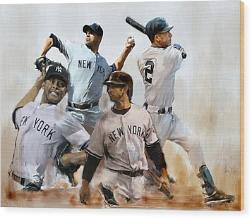 Core  Derek Jeter Mariano Rivera  Andy Pettitte Jorge Posada Wood Print by Iconic Images Art Gallery David Pucciarelli