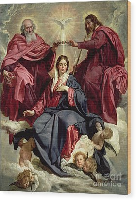 Coronation Of The Virgin Wood Print by Diego Velazquez