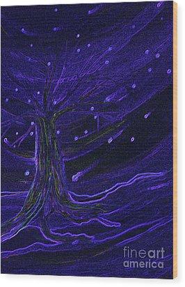 Cosmic Tree Blue Wood Print by First Star Art