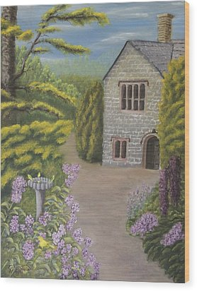 Cottage In The Woods Wood Print by Lou Magoncia