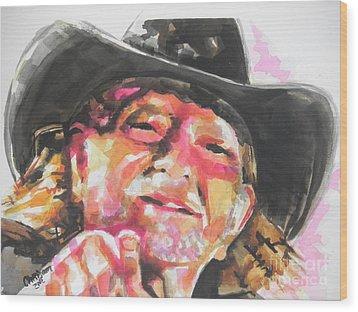 Country Music Artist...willie Nelson Wood Print by Chrisann Ellis