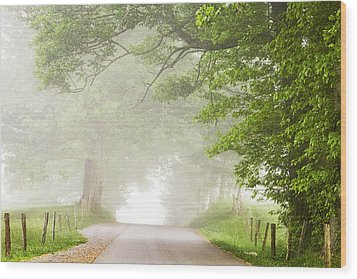 Country Road In The Fog Wood Print by Andrew Soundarajan