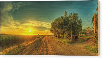 Country Sunrise Wood Print by  Caleb McGinn