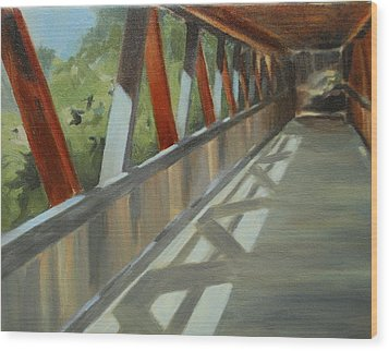 Covered Bridge At Roswell Mill Wood Print by Jean Scanlin Wright