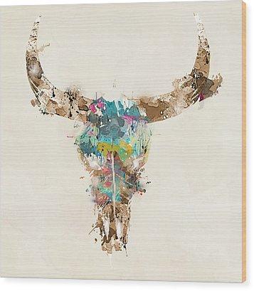 Cow Skull Wood Print by Bri B