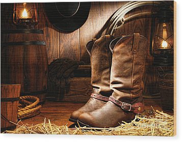 Cowboy Boots In A Ranch Barn Wood Print by Olivier Le Queinec