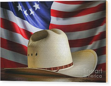 Cowboy Hat And American Flag Wood Print by Olivier Le Queinec