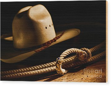 Cowboy Hat And Lasso Wood Print by Olivier Le Queinec