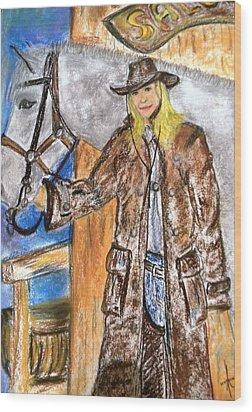 Cowgirl Wood Print by Igor Kotnik