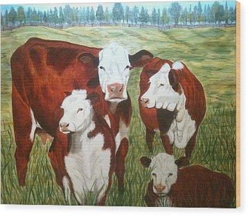 Cows Four Wood Print by Lee Halbrook
