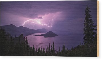 Crater Storm Wood Print by Chad Dutson