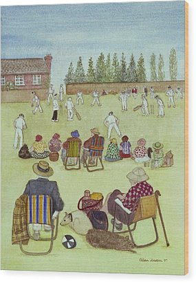 Cricket On The Green, 1987 Watercolour On Paper Wood Print by Gillian Lawson