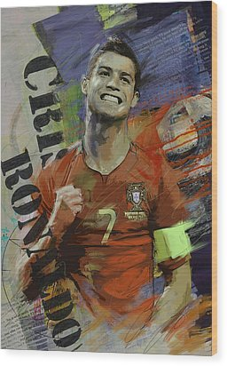 Cristiano Ronaldo - B Wood Print by Corporate Art Task Force