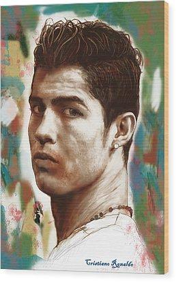 Cristiano Ronaldo Stylised Pop Art Drawing Potrait Poster Wood Print by Kim Wang