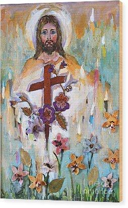 Cross Of Christ Wood Print by Mary Spyridon Thompson