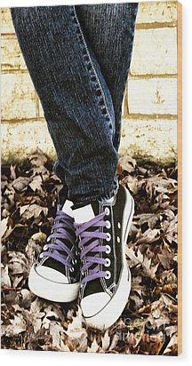 Crossed Feet Of Teen Girl Wood Print by Birgit Tyrrell