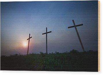Crosses Three Wood Print by Jeff Klingler