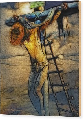 Crucifixion - Stained Glass Wood Print by Ray Downing