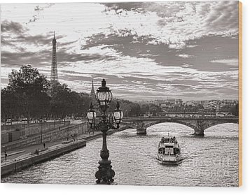 Cruise On The Seine Wood Print by Olivier Le Queinec