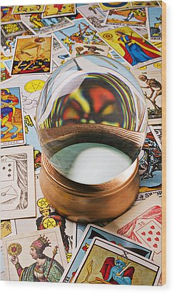 Crystal Ball And Tarot Cards Wood Print by Garry Gay