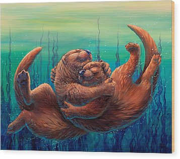 Cuddles And Bubbles Wood Print by Beth Davies