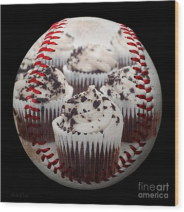 Cupcake Cuties Baseball Square Wood Print by Andee Design