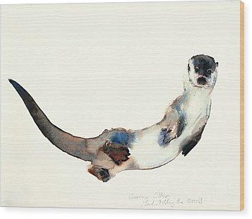 Curious Otter Wood Print by Mark Adlington