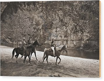 Current River Horses Wood Print by Marty Koch
