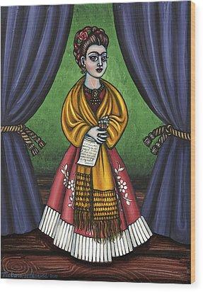 Curtains For Frida Wood Print by Victoria De Almeida