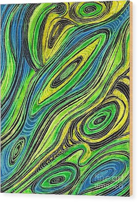 Curved Lines 5 Wood Print by Sarah Loft