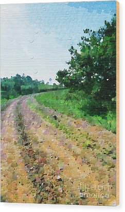 Curved Road Painting Wood Print by George Fedin and Magomed Magomedagaev