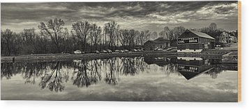 Cushwa Basin C And O Canal Black And White Wood Print by Joshua House