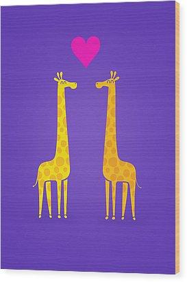 Cute Cartoon Giraffe Couple In Love Purple Edition Wood Print by Philipp Rietz