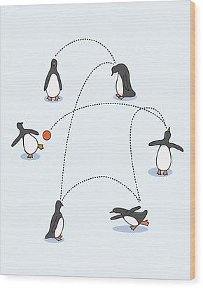 Cute Penguin Art Wood Print by Christy Beckwith