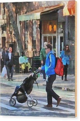 Daddy Pushing Stroller Greenwich Village Wood Print by Susan Savad