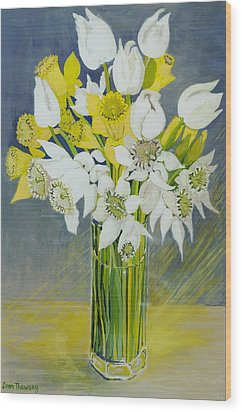 Daffodils And White Tulips In An Octagonal Glass Vase Wood Print by Joan Thewsey