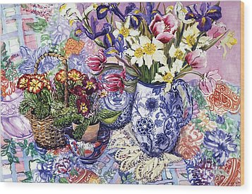 Daffodils Tulips And Iris In A Jacobean Blue And White Jug With Sanderson Fabric And Primroses Wood Print by Joan Thewsey