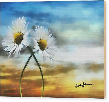 Daisies In Love Wood Print by Anthony Caruso