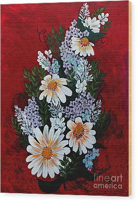 Daisies Lilacs And Forget Me Nots Wood Print by Barbara Griffin