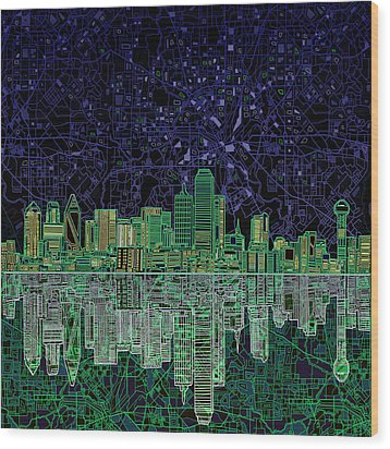 Dallas Skyline Abstract 4 Wood Print by Bekim Art