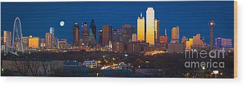 Dallas Skyline Panorama Wood Print by Inge Johnsson