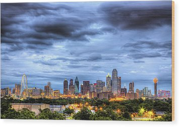 Dallas Skyline Wood Print by Shawn Everhart