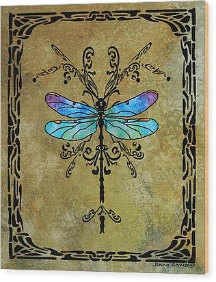 Damselfly Nouveau Wood Print by Jenny Armitage