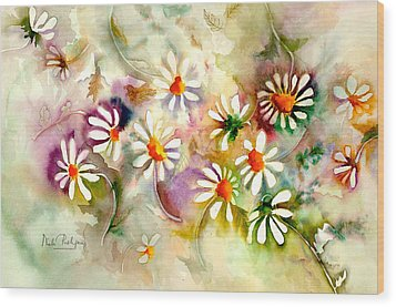 Dance Of The Daisies Wood Print by Neela Pushparaj