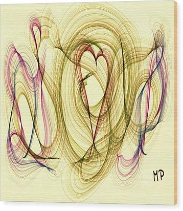 Dancing Heart Wood Print by Marian Palucci-Lonzetta