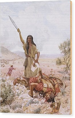 David And Goliath Wood Print by William Brassey Hole