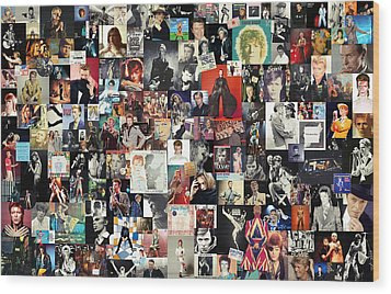 David Bowie Collage Wood Print by Taylan Soyturk