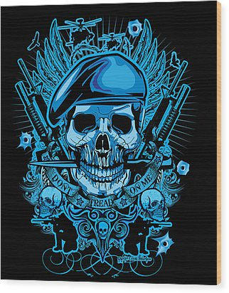 David Cook Studios Army Ranger Military Skull Art Wood Print by David Cook  Los Angeles Prints