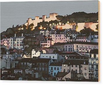 Dawn At St. George Castle Lisbon Wood Print by Linda  Parker